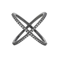 Anel Duplo X Cruzado Zircônias. Semi Joia Rodio Negro Aro 15