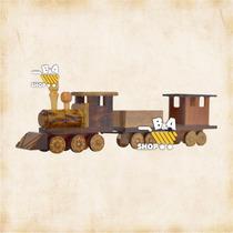 Locomotiva Com Vagao Antiga De Madeira Artesanal Rustico