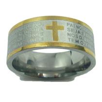 Anel Aço Inox Oração Pai Nosso Dourado Inspirartz