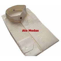 Camisa Masculina Gola De Padre Pérola C/ Plissado