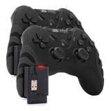 2 Controle Pc Sem Fio Wireless Joystick Ps3 Ps2 Recarregável