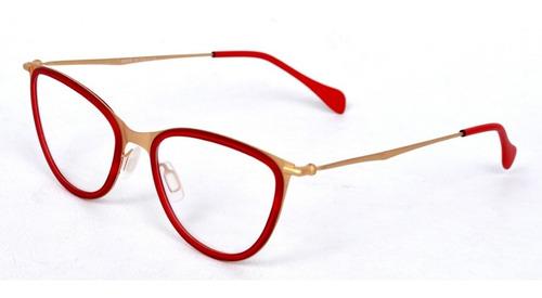 44631017a Armação Óculos Grau Feminino Vermelho E Dourado. R$ 35