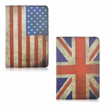 Capa Case Ipad 2 3 4 Retina Bandeira Eua Inglaterra Couro