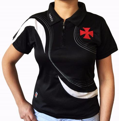 Camisa Polo Do Vasco Feminina Baby Look Oficial f0a71a9b1b323