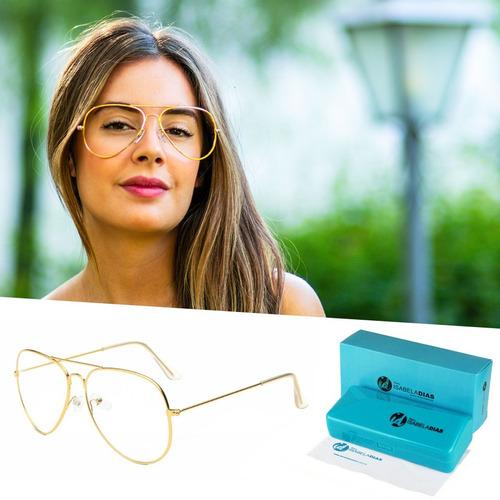9f749e968 Armação Óculos De Grau Aviador Feminino Isabela Dias 088
