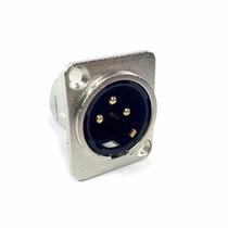 Conector Plug Hjh Xlr Macho Painel Terminais Banhado A Ouro