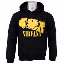 Blusa Nirvana Moletom Canguru Com Capuz
