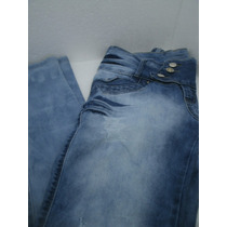 Calça Jeans Feminina Cintura Alta Strech Elastano Est Pitbul