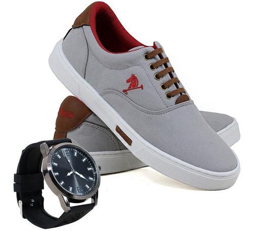 07632ff34 Tênis Polo Joy Masculino Lona Casual + Relógio Frete Grátis