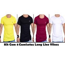 1ca4f3269 Kit Com 4 Camiseta Masculina Viines Long Line Básica 11 Cor à venda ...