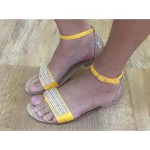Sandália Rasteira Strass Brilho E Laço Amarela Com Miçangas