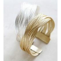 Pulseira Bracelete Feminina Malha Trançada Prata Ouro