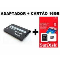 Memory Stick Pro Duo Adaptador Cartão Camera Sony + 16gb Mem