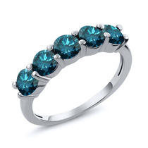 Blue Diamond Anel De Ouro Branco