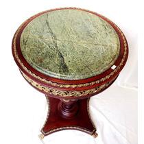 Mesa De Canto Tampo Em Mármore Apliques Em Bronze Mogno