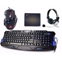 Kit Gamer Teclado E Mouse Gamer + Headset P2 + Mouse Pad