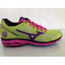37 Tenis Mizuno Wave Prorunner - Verde/rosa/roxo Selfiesport