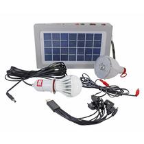 Kit Placa Solar Com Bateria 2 Lampadas Led Lanterna Camping