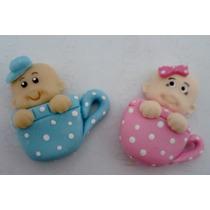 Lembrancinha Em Biscuit - Bebê Na Xícara - Kit C/10 Unidades