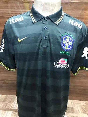 Camisa Pólo Seleção Brasileira Comissão Técnica Verde Escuro 46de8c6ee508c