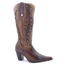 Bota Texana Cowboy Feminina Country Via Art Em Couro Café