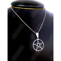 Corrente+ Pingente Poderoso Amuleto Pentagrama P. Prata 925k