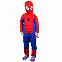 Fantasia Infantil Longa Homem Aranha Com Gorro Spiderman