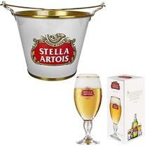 Kit Balde De Gelo C/ 4 Taça Copo Stella Artois Licenciados