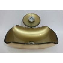 Kit 3 Pc Cuba De Vidro Abaulada Dourada Banheiro, Lavabo