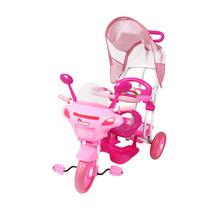 Triciclo Infantil 2 Em 1 C/toldo Luzes Música Rosa Bel Brink