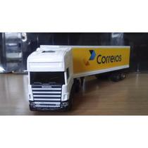 Caminhão Scania Carreta Bau Correios Miniatura 1/87 Coleção