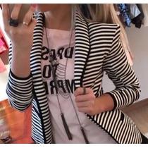 Blazer Listrado Ponto Roma Moda Das Blogueiras
