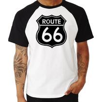 Camiseta Route 66 Rota 66 Us Pop Raglan Manga Curta