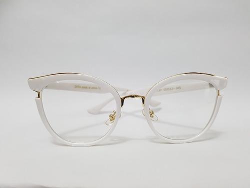 Armação Oculos Grau Dita Gatinho Branco E Dourada d2609c4e70