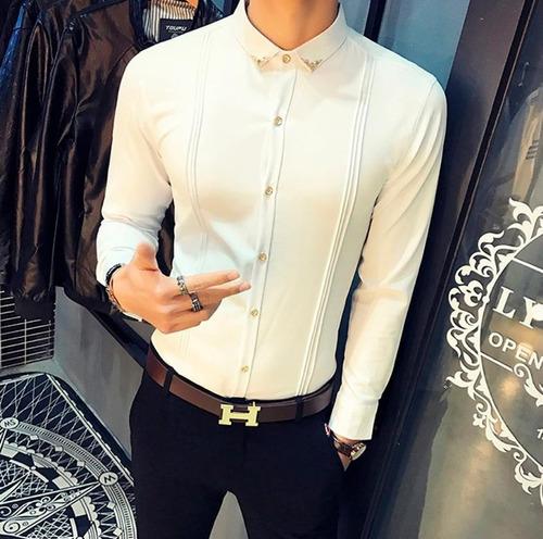 58ef4b4573 Camisas Social Masculina Slim Fit Luxo Premium Manga Longa