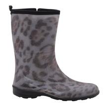 Bota Galocha Feminina Leopardo Cano Médio Com Zíper 21170