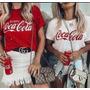 Blusa T-shirt Feminina Estilizada Furos Coca-cola Promoção