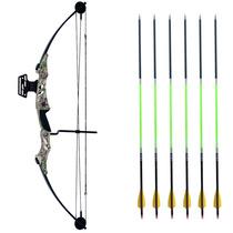 ffcb80906 Arco E Flecha Composto Elite 55ac + 6 Flechas Nature Carbono