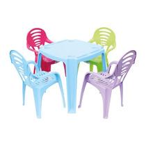 Mesas Com Cadeiras Plásticas Coloridas Infantil, Para Escola