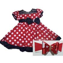 Vestido Fantasia Infantil Festa Minnie Vermelho Com Faixa