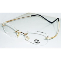 Armação Oculos Grau Flexivel Titanium Dourado Gold Sem Aro