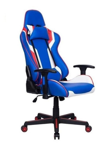 Cadeira De Escritório Pelegrin 3010 Jogador Ergonômica Azul, Branca Y Vermelha