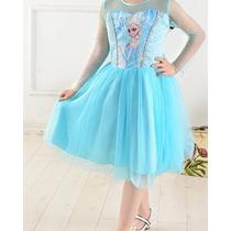 Vestido Fantasia Princesa Frozen Elsa Pronta Entrega+brinde