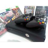 X Box 360 Destravado + 2 Controles , 6 Jogos