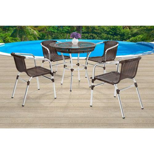 Conjunto De Mesa Com 4 Cadeiras Danubia Marrom