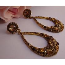 Brinco Grande Dourado Maxi Com Pedras D Cristal Glamour Br 1
