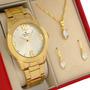 Relógio Champion Feminino Dourado Ouro 18k Com 1 Ano De Garantia Prova D'água E  Original