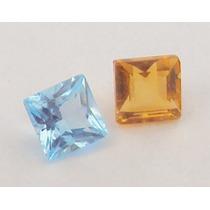 Pedras Preciosas Citrino E Topazio Azul Carre 3mm R$5,00