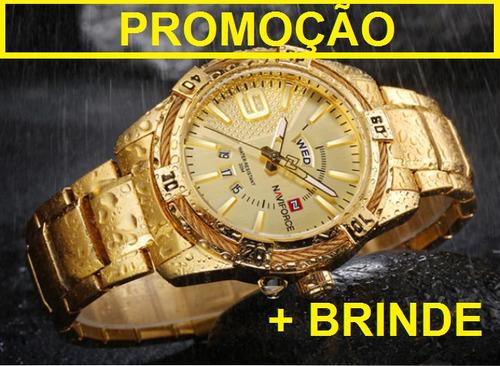 95bbb9e8d4e Relógio Masculino Original Naviforce 9117 Quartz Brinde