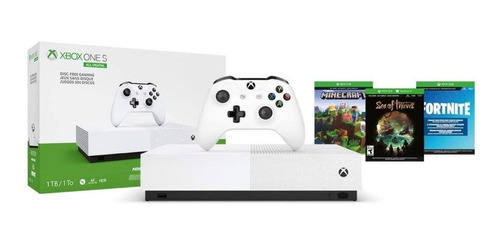 Microsoft Xbox One S 1tb All-digital Edition: Minecraft/sea Of Thieves/fortnite Battle Royale Branco